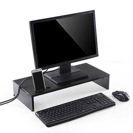 Soporte elevador de madera para monitor de ordenador de Ttap, negro, para ordenador port&aacute