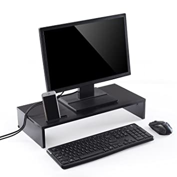 Soporte elevador de madera para monitor de ordenador de Ttap, negro, para ordenador portá