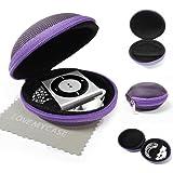 """StyleBitz / Étui """"coquillage"""" pour ranger, protéger et transporter les écouteurs de votre Apple iPod Shuffle 2è, 3è et 4è génération, fermeture éclair, poche intérieure, extérieur ultra-résistant, avec chiffon de nettoyage conçu en exclusivité par StyleBitz (Violet)"""