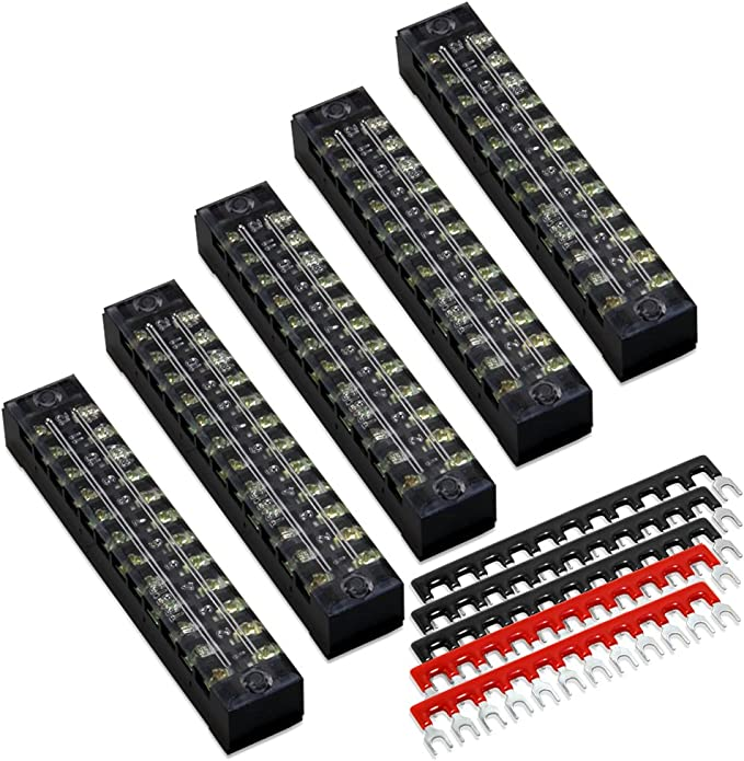 600 Volts Electrical Barrier Blocks Screw Terminals– 25 Amps 5-PC 10-Position