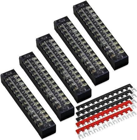 15x 400V 10A Fork Shape Pre Insulated 12 Position Barrier Block Strip Wire Em