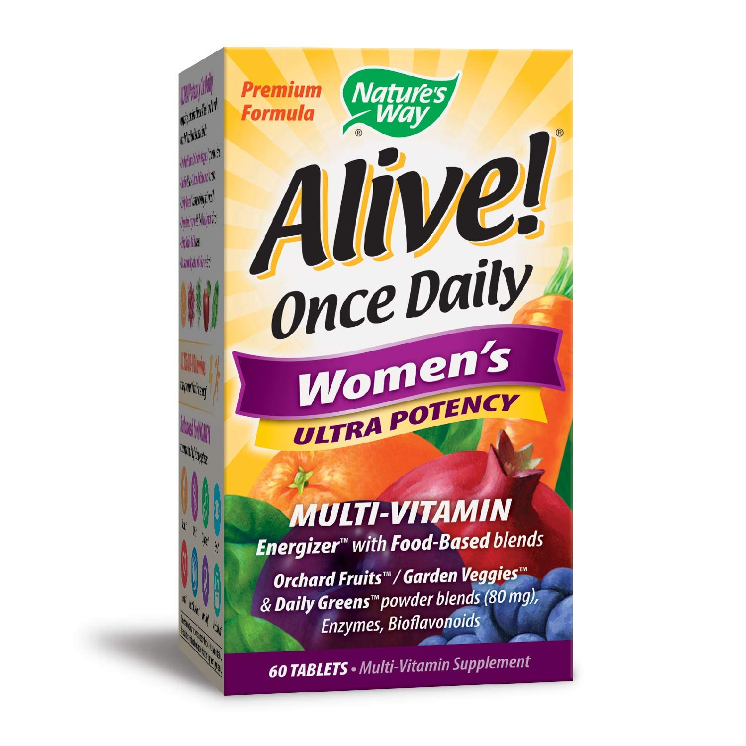 Nature's Way Alive! Once Daily Women's Multivitamin, Ultra Potency, Food-Based Blends (240mg per serving), 60 Tablets by Nature's Way