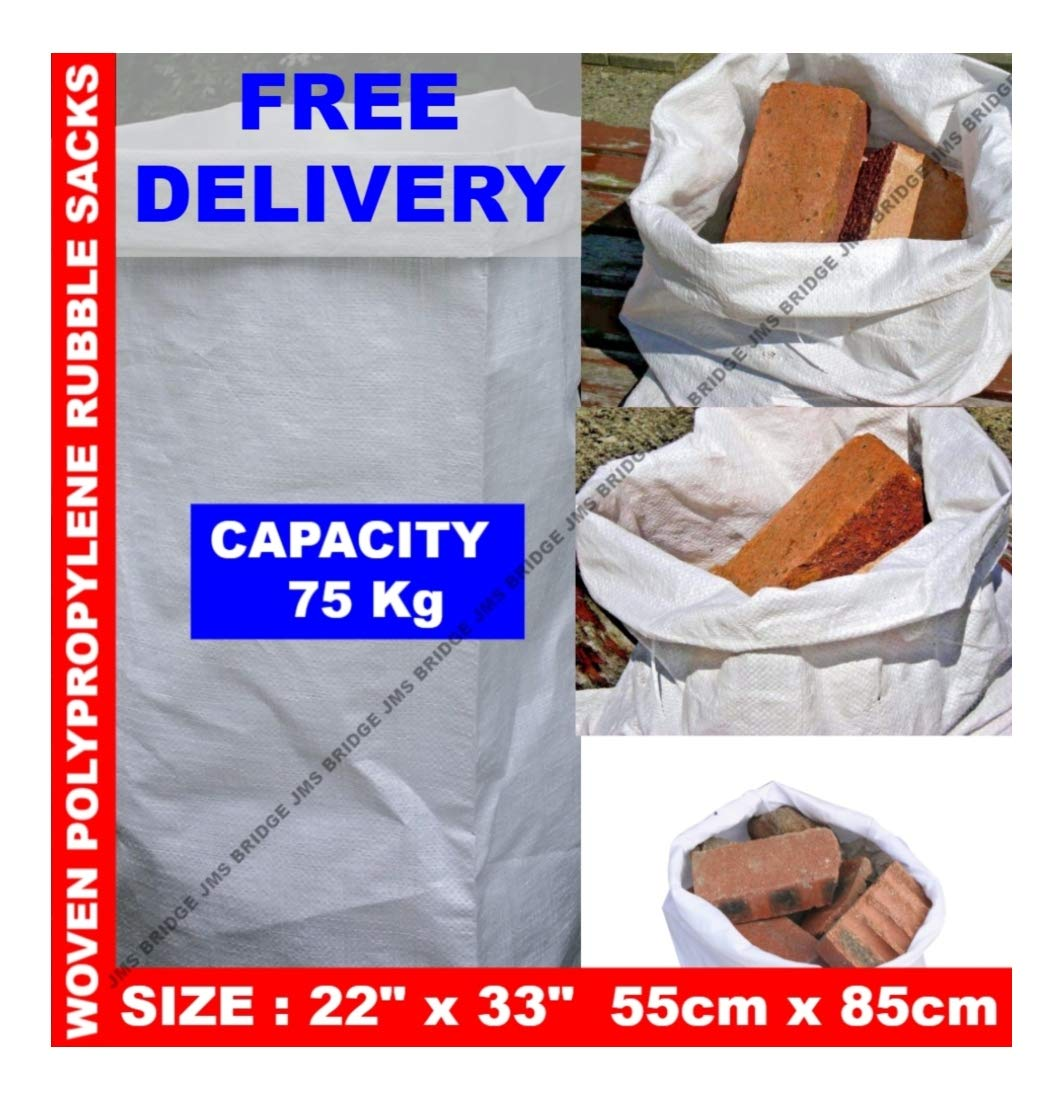 100 x Woven Polypropylene Rubble Builder Sacks Bags 22 x 33' JMS Bridge