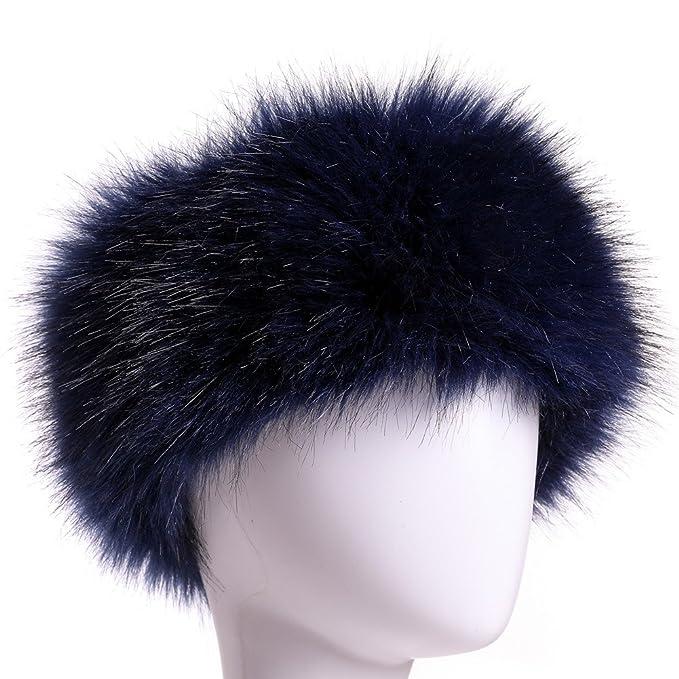 Dikoaina Womens Faux Fur Headband Winter Earwarmer Earmuff Hat Ski (Navy  Blue) bb9500218e9