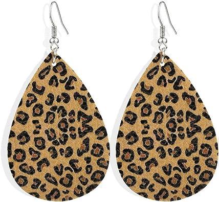 8 Leopard Print Patterned FAUX leather teardrops,vegan leather teardrop shapes for earrings,Boho Leather teardrop for Earring Making-VC5060#