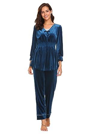 722ee7ddc50c82 Ekouaer Damen Samt Anzug Pyjama V Ausschnitt Lang Schlafanzug Nachtwäsche  für Herbst Winter