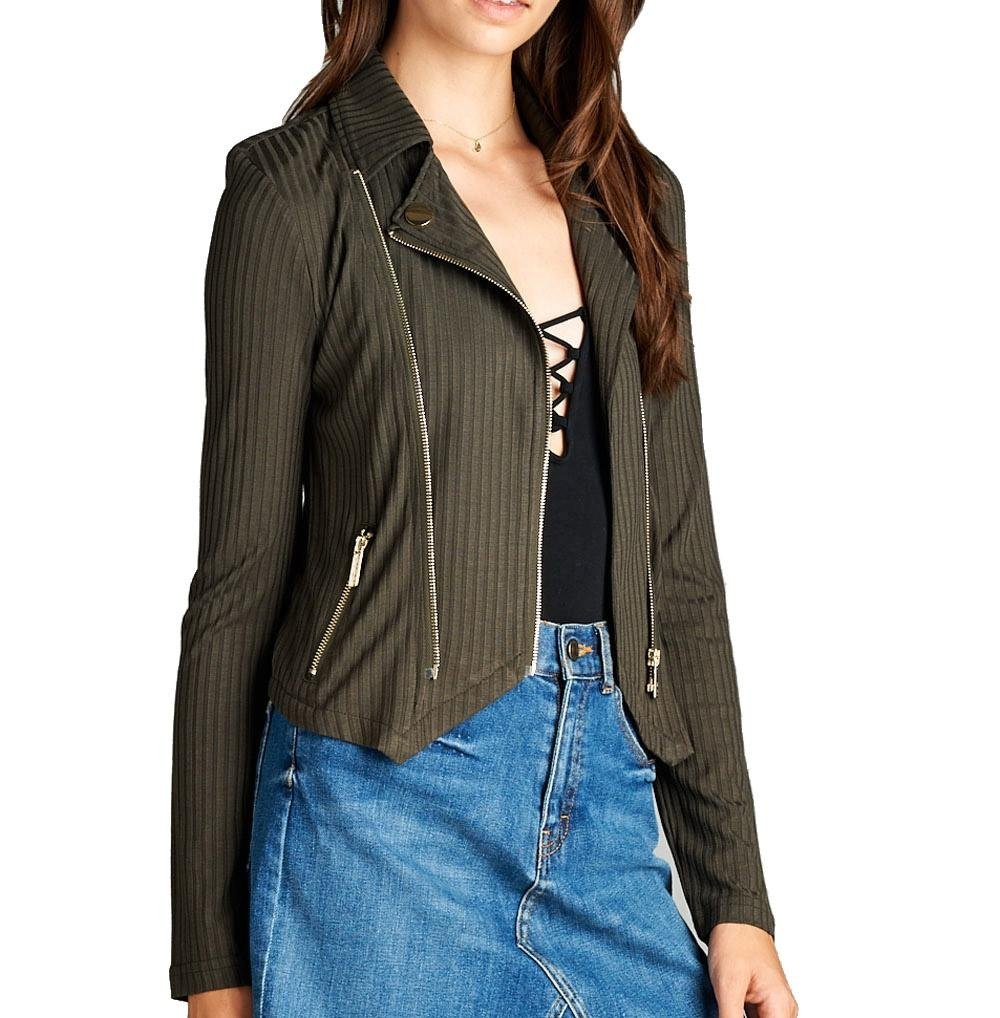 Khanomak Women's Long Sleeve Zipper Detail Rib Fitted Jacket Blazer Casual Basic J1775