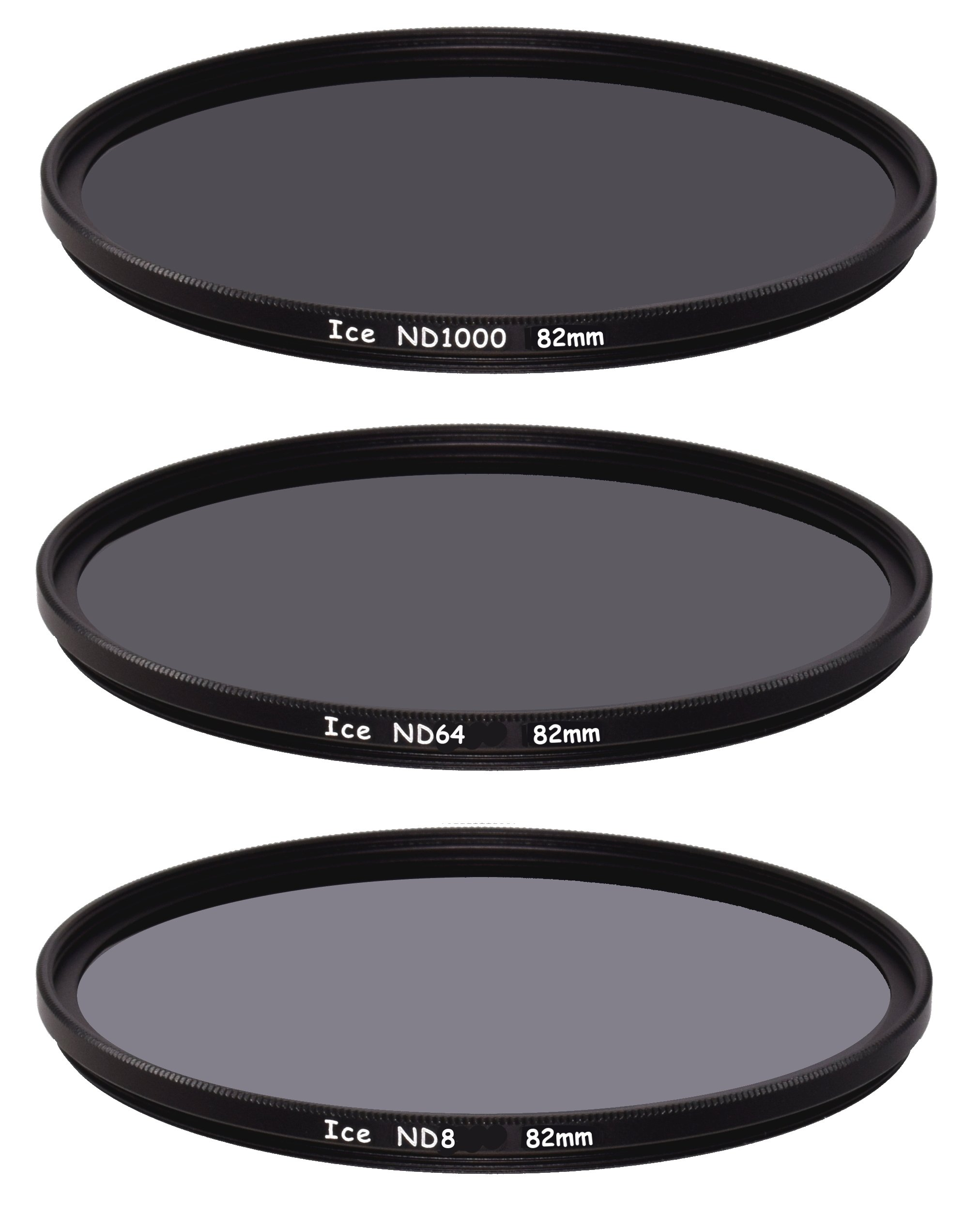 ICE 82mm Slim ND Filter Set ND1000 ND64 ND8 Neutral Density 82 10, 6, 3 Stop Optical Glass by Unknown