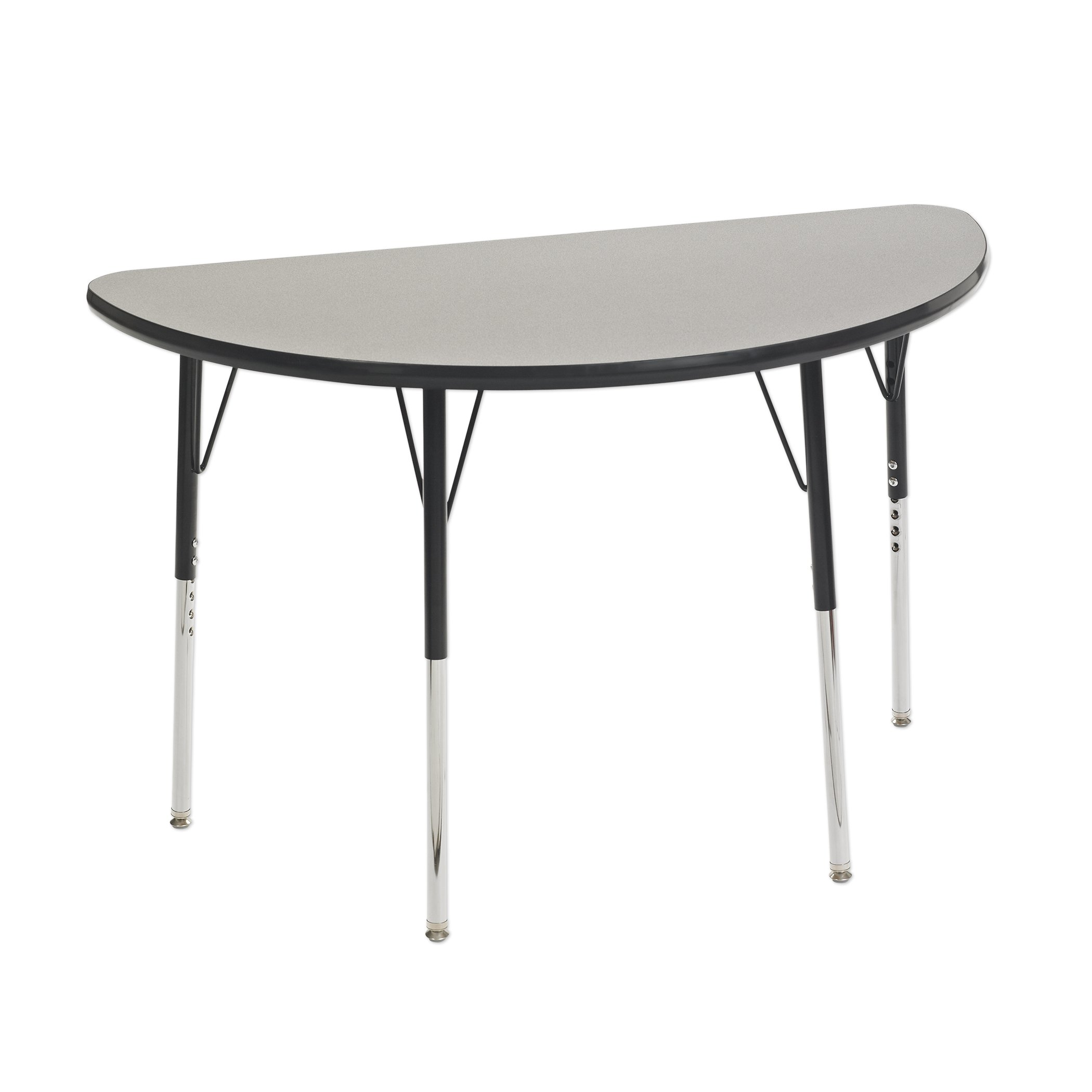 ECR4Kids Mesa T-Mold 24'' x 48'' Half Round School Activity Table, Toddler Legs w/ Swivel Glides, Adjustable Height 15-23 inch (Grey/Black)