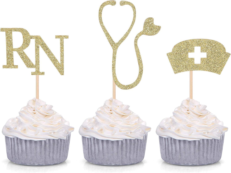 Medical Theme Cupcake Toppers Nursing Nurse School Graduation Party Decorations - Gold