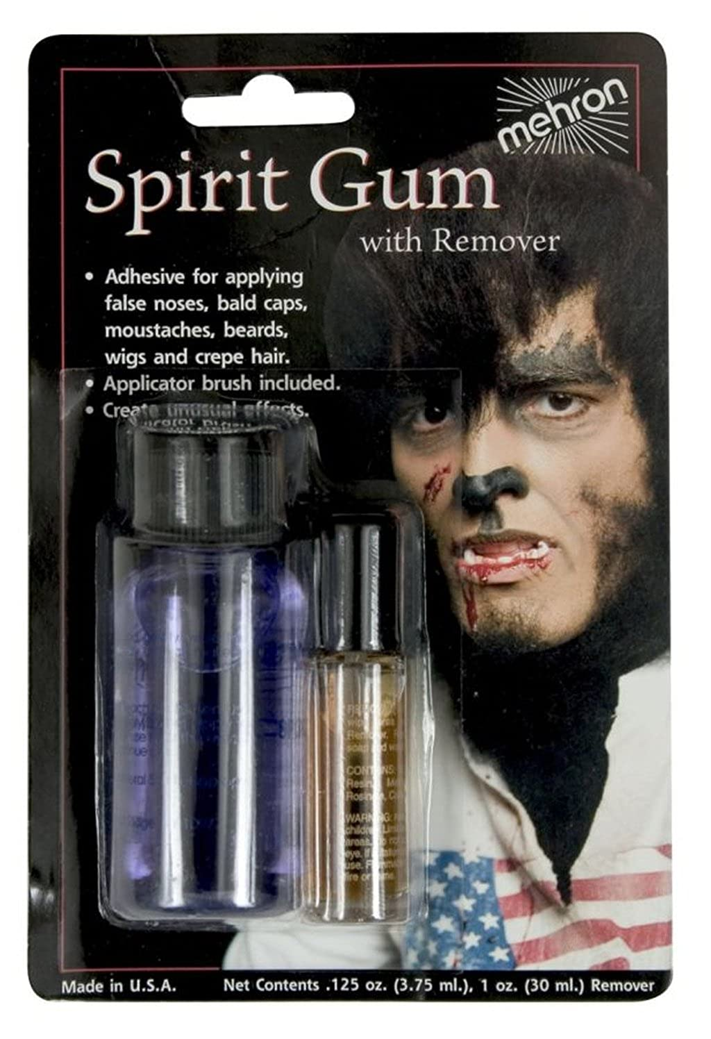 A .125 Ounce of Spirit Gum Liquid Adhesive and an Ounce of Remover Carded Together WMU