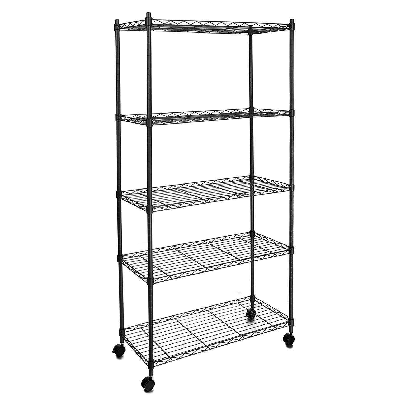 Garain 5-Layer Wire Metal Shelf Adjustable Shelving Storage Rack w/Wheels (Black-5 tiers)