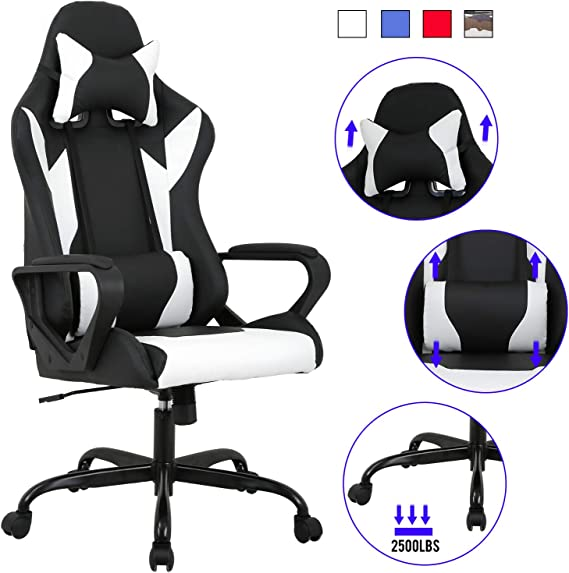 Computer Gaming Chair PC Ergonomic Office Chair Home Executive Desk Chair Adjustable High-Back PU Leather Racing Chair Rolling Swivel Modern Task Chair with Lumbar Support Headrest Armrest (White)