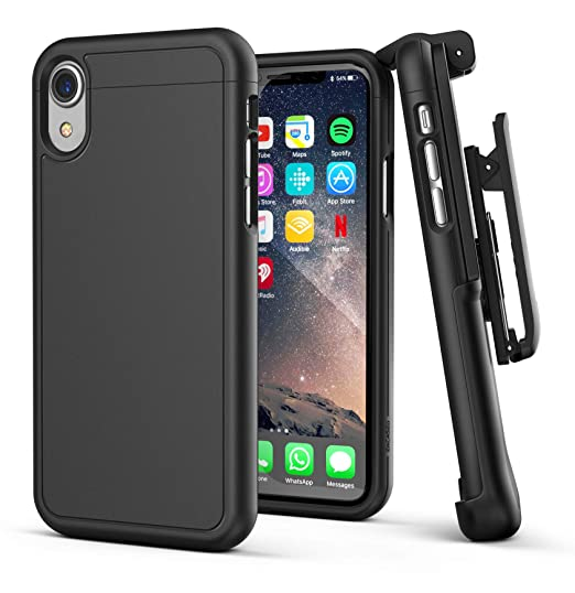 the latest 29cde 0c85c Encased iPhone XR Belt Clip Holster Case, Ultra Slim Protective Cover with  Belt Holder (Slimshield Series) Black