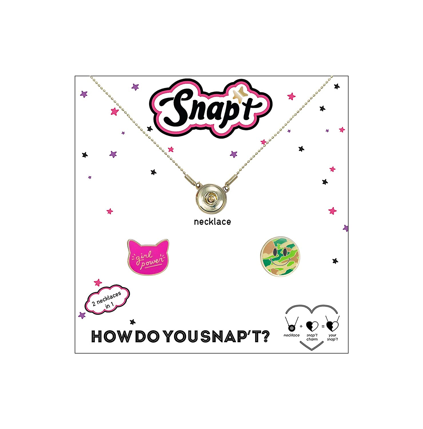 Snapt Girl Power camo Smiley Necklace