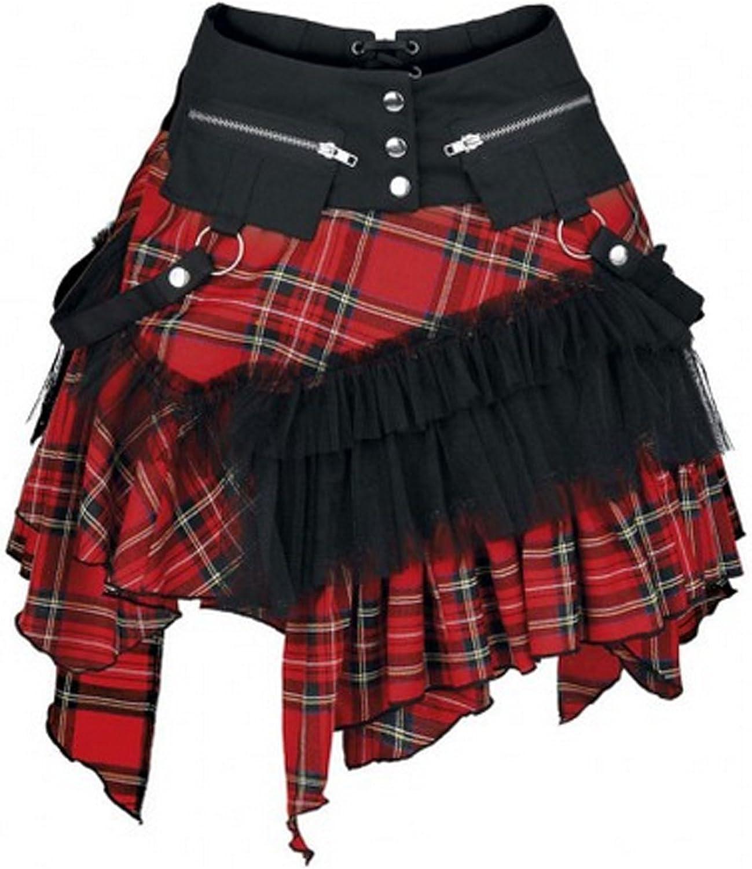 KuroNeko – Check Cat Tartan Minifalda Falda Negro Rojo Gothik ...