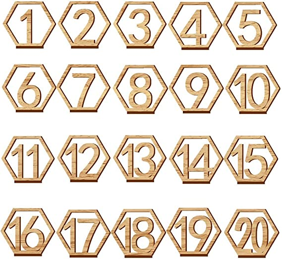 Party Events or Catering Decoration Wooden Table Numbers,Fashionclubs 1-20 Wedding Table Numbers with Holder Base,Hexagon Shape,Perfect for Wedding