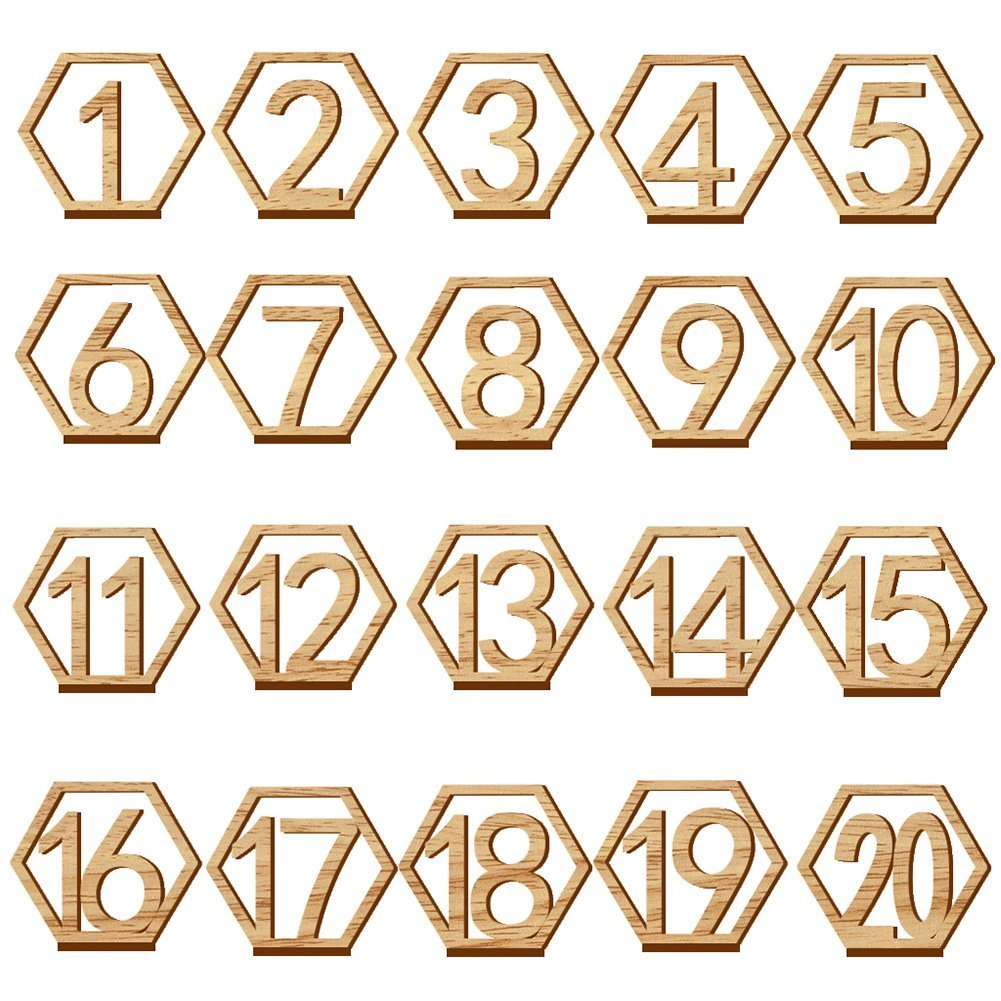 Wooden Table Numbers,Fashionclubs 1-20 Wedding Table Numbers with Holder Base,Hexagon Shape,Perfect for Wedding, Party, Events or Catering Decoration