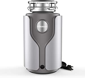 HISSUN Garbage Disposals,3/4 HP Continuous Feed with Power Cord, Quiet Unit Power Cord included Food Waste Disposer for Kitchen (Silver Gray)