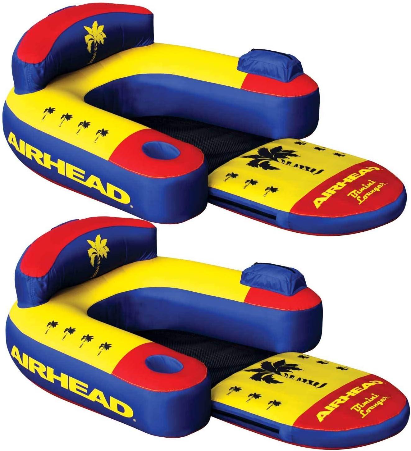 Airhead Bimini Lounger II Single Person Inflatable Pool Lounge Raft 2 Pack