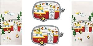DHE 4 Piece Home is Where We Park It Happy Camper Kitchen Towel Bundle, 2 Towels and 2 Potholders