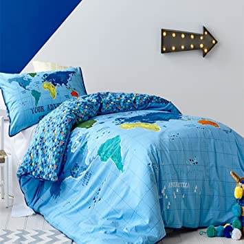 Amazon lelva blue map of the world of bedding sets cotton amazon lelva blue map of the world of bedding sets cotton childrens duvet cover set kids bedding set twin full queen size twin home kitchen gumiabroncs Image collections