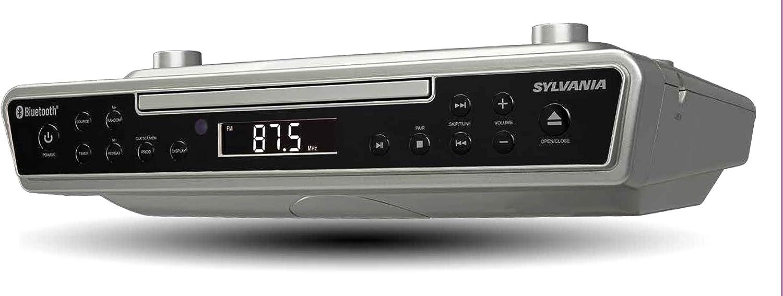Renewed Black Sylvania SKCR2713 Under Counter CD Player with Radio and Bluetooth