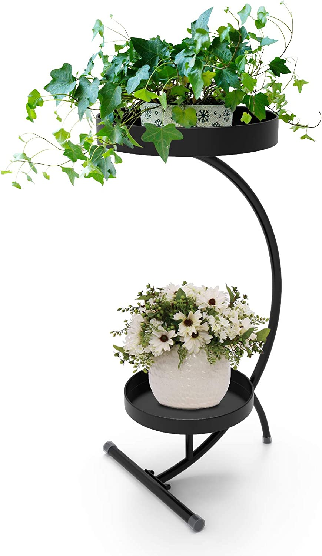Winiko Metal Plant Stand  2-Tier Indoor Plant Stand  25.2 Inch Black Plant Shelf for Garden Balcony Living Room