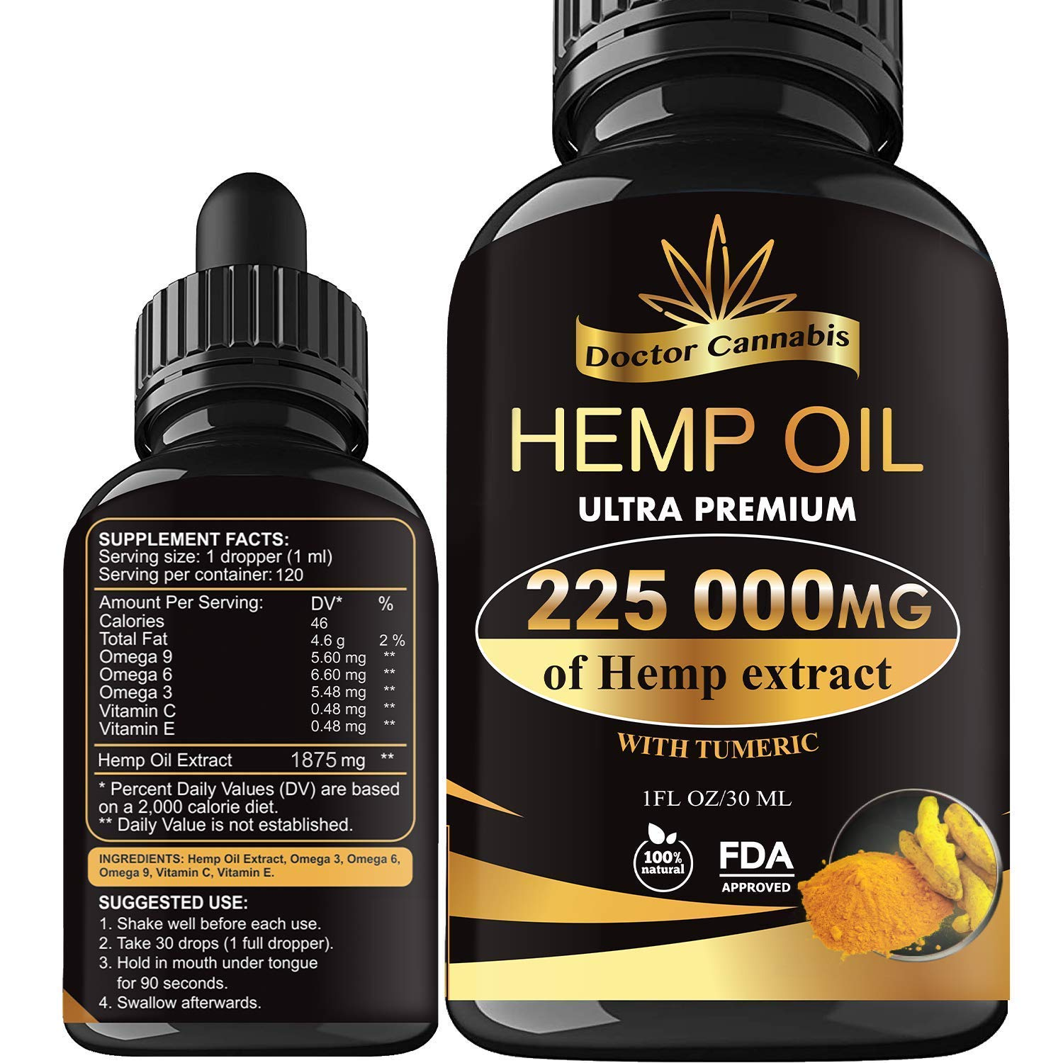 Hemp Oil, 225 000mg of Pure Extract, Sleep, Mood and Pain Relief Supplement, Oil for Relax, 100% Organic Hemp Drops, 4 Fl oz. (120ml) by Doctor Cannabis