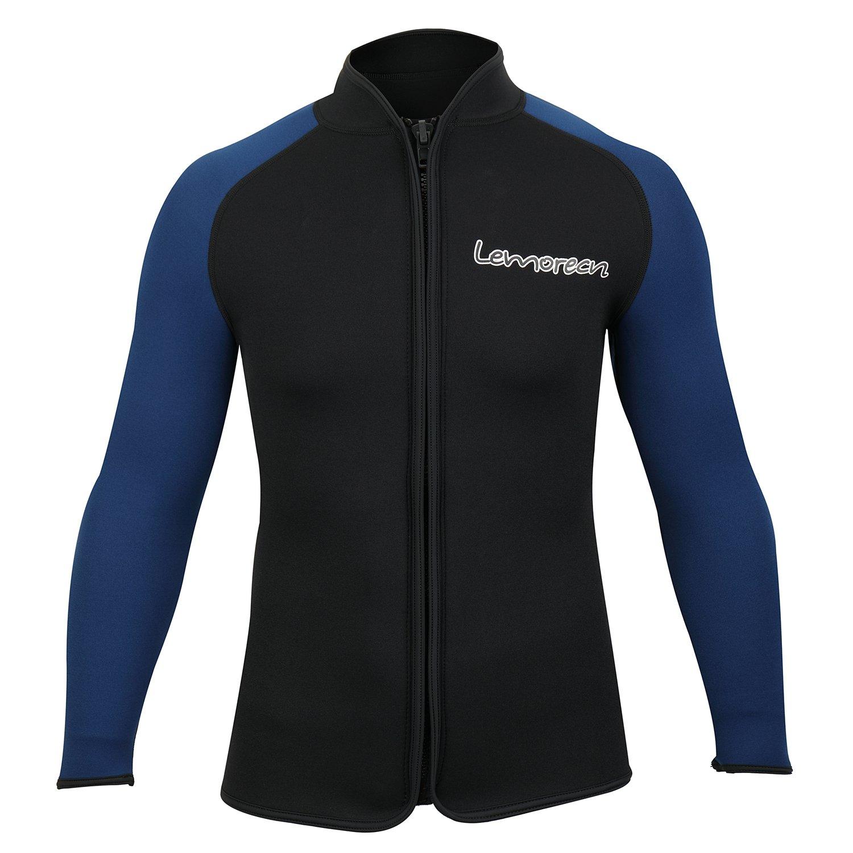 Lemorecn Adult's 3mm Wetsuits Jacket Long Sleeve Neoprene Wetsuits Top (2031blackblueS)