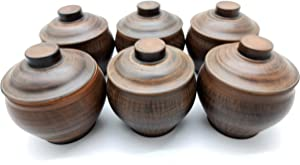 Handmade Unglazed Clay Pots for Cooking 600 ml - Inside Glazed Ceramic Ramekins with Lids Set of 6 - Clay Crock Pot - Red Clay Pot Cooking by KIBS group