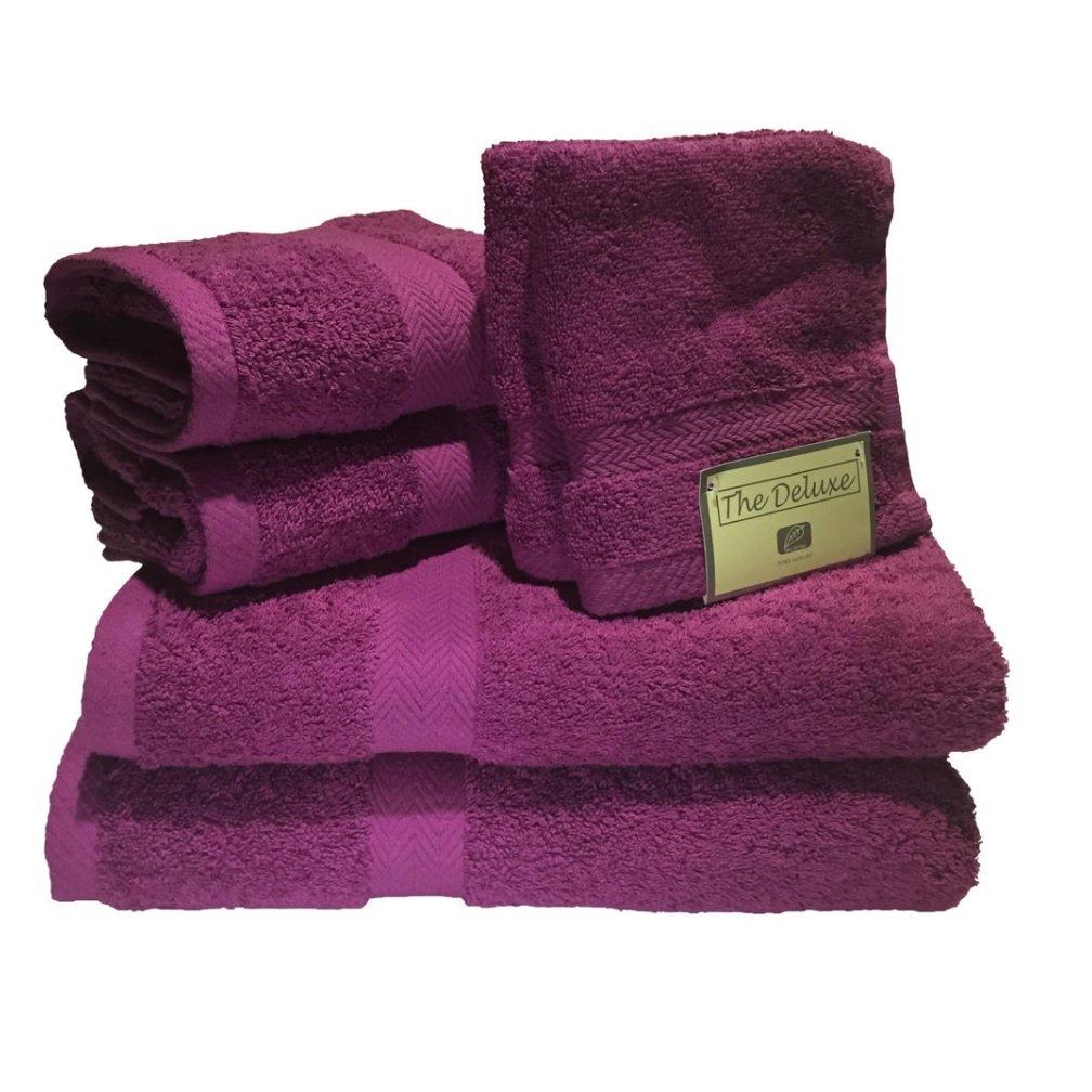 THE DELUXE/ESPALMA Towel Set, Magenta, 6 Piece