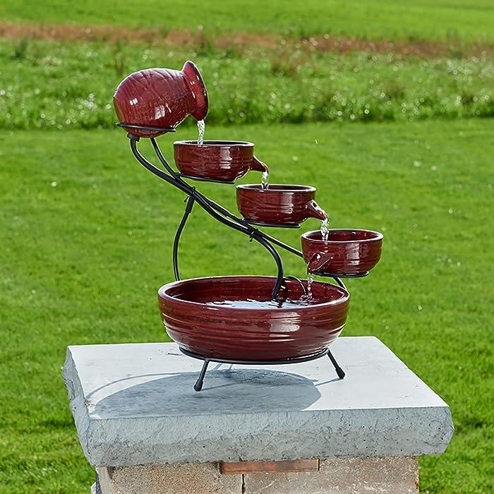 Smart-Solar-23941R01-Ceramic-Solar-Cascade-Fountain