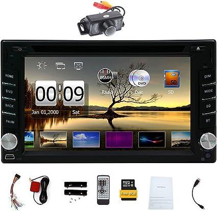 Cámara gratis! Versión upgarde! 2 DIN Car DVD CD Reproductor de vídeo 6.2 pulgadas estéreo Bluetooth GPS radio de coche PC del coche de la CPU 800MHZ!!!: Amazon.es: Electrónica