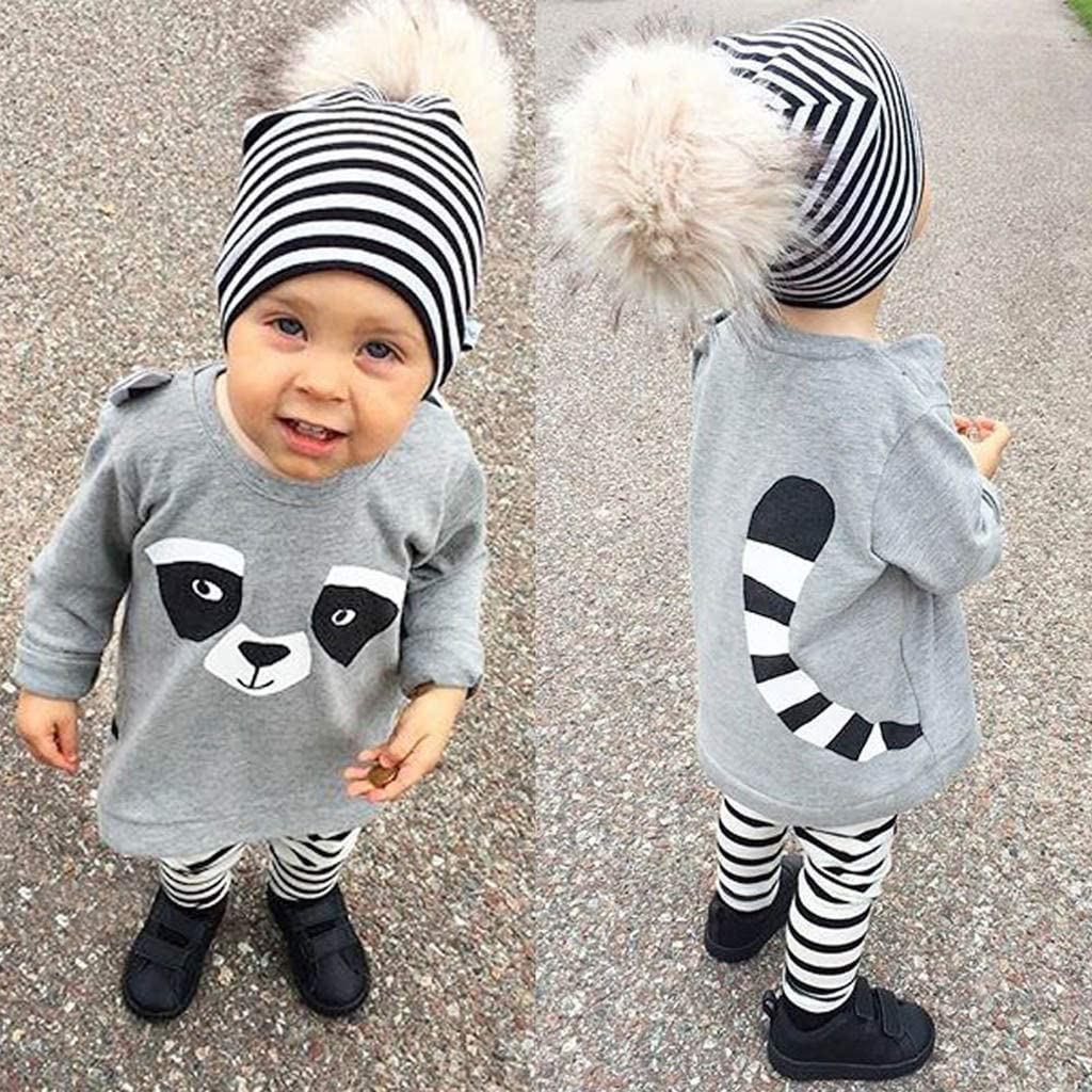 KONFA Toddler Baby Boys Girls Spring Clothes,Long Sleeve Cartoon Racoon T-Shirt Pullover Tops+Striped Pants 2Pcs Outfits 0-3 Years Grey, 3-6 Months