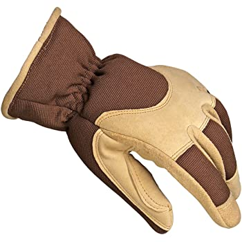 OZERO Work Gloves, with Deerskin Suede Leather Shell and