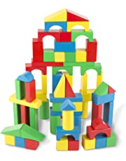 Melissa & Doug Wooden Building Blocks Set, Developmental Toy, 100 Blocks in 4 Colors and 9 Shapes, 34.29 cm H x 8.89 cm W x 22.86 cm L