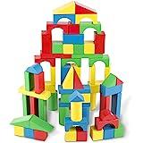Melissa & Doug 481 Wooden Building Blocks Set - 100 Blocks in 4 Colors and 9 Shapes