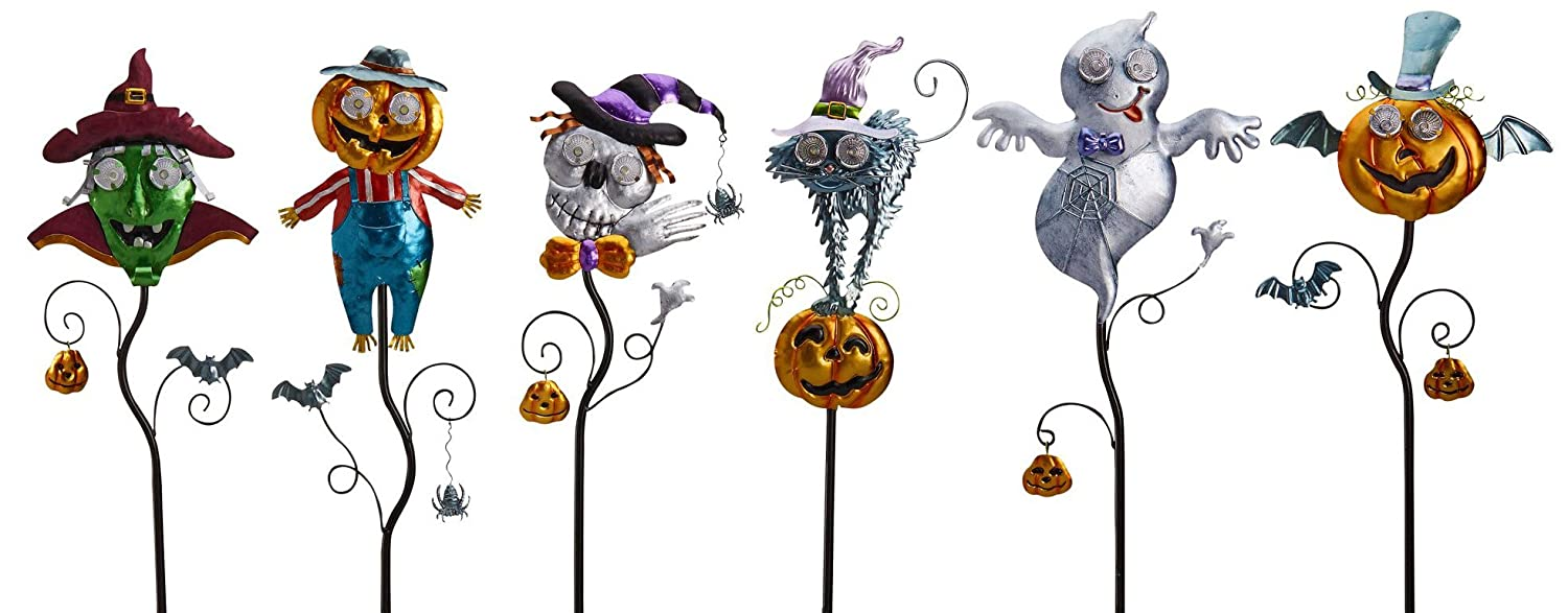 Goblin Guiders - Solar Powered Halloween Decorative Lights - Bundle of 6 - Friendly Ghost, Hair-Raising Cat, Winged Pumpkin, Green Goblin, Jolly Pumpkin Scarecrow and Smiling Skeleton Original Treasures