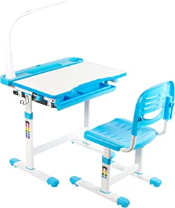 VIVO Blue Height Adjustable Children's Desk and Chair, Kids Interactive Workstation with LED Lamp (DESK-V303B)