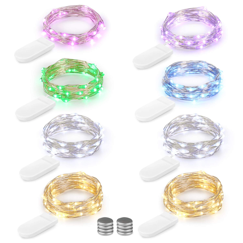 LED Lichterkette Batterie 8er 2M 20 LED Innen Micro Silber ...