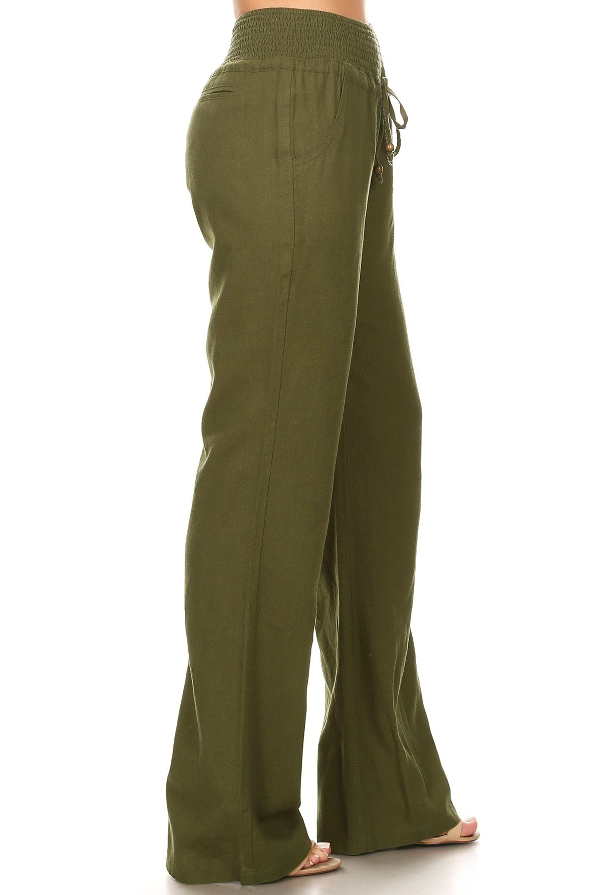 April Apparel Inc. Via Jay Women's Casual Relaxed-Fit Wide Leg High Waist Pants (Large, Olive)