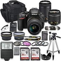 Nikon D5600 DSLR Camera with AF-P 18-55mm VR Lens + Nikon AF-P 70-300mm f/4.5-6.3G ED Lens + 2pc SanDisk 32GB Memory…
