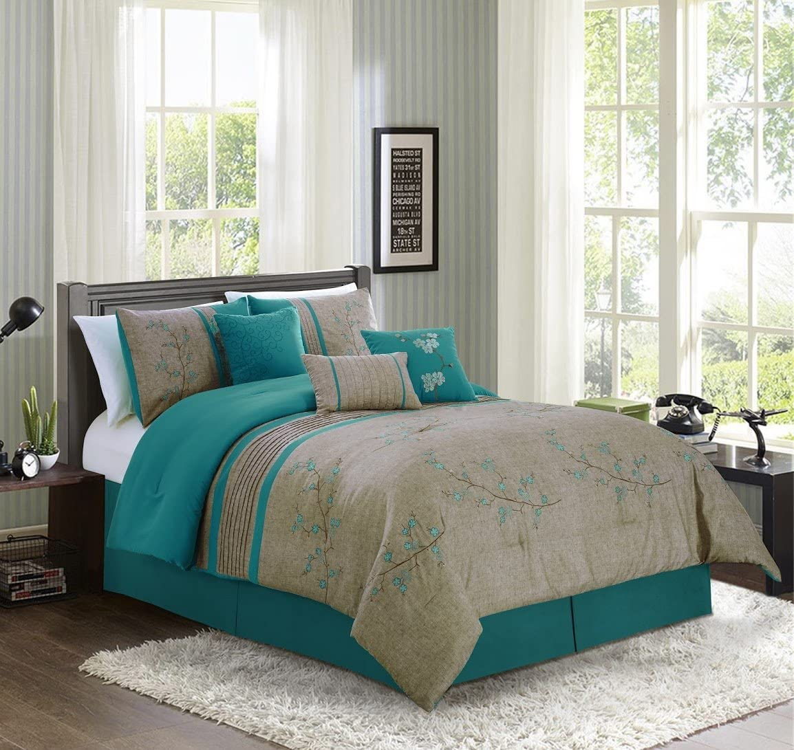 Chezmoi Collection Noriko Luxury 7-Piece Teal Cherry Blossoms Floral Embroidery Bedding Comforter Set (Queen