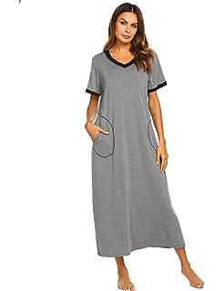 95bb631967 Ekouaer Loungewear Long Nightgown Women s Ultra-Soft Nightshirt Full Length  Sleepwear with Pocket