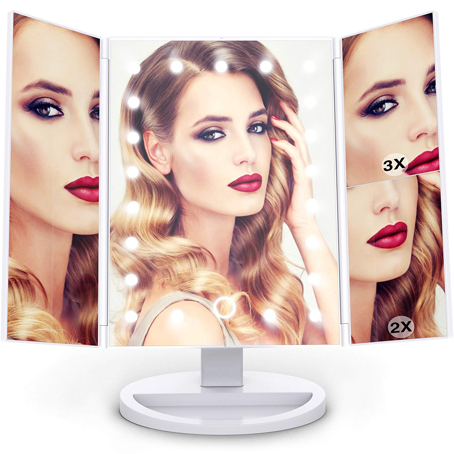 Vanity Makeup Mirror Trifold with Upgraded Touch Screen - Lighting 21 LED Lights, 1x/2x/3x Magnification, 180° Adjustable Stand, and High-Power USB Charging Backlight FHC