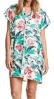 Sexy Beach V Neck Floral Printed Mini Shift Straight Boxy Shirt Dress Green