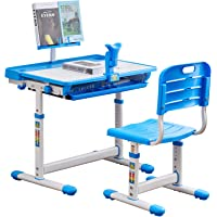 Blue SAINGACE Children Study Table,Height Adjustable Kids Desk and Chair Set Student Writing Desk with Tilt Desktop Storage Drawer Bookstand for Studying 27.55x15.7 Reading and Drawing