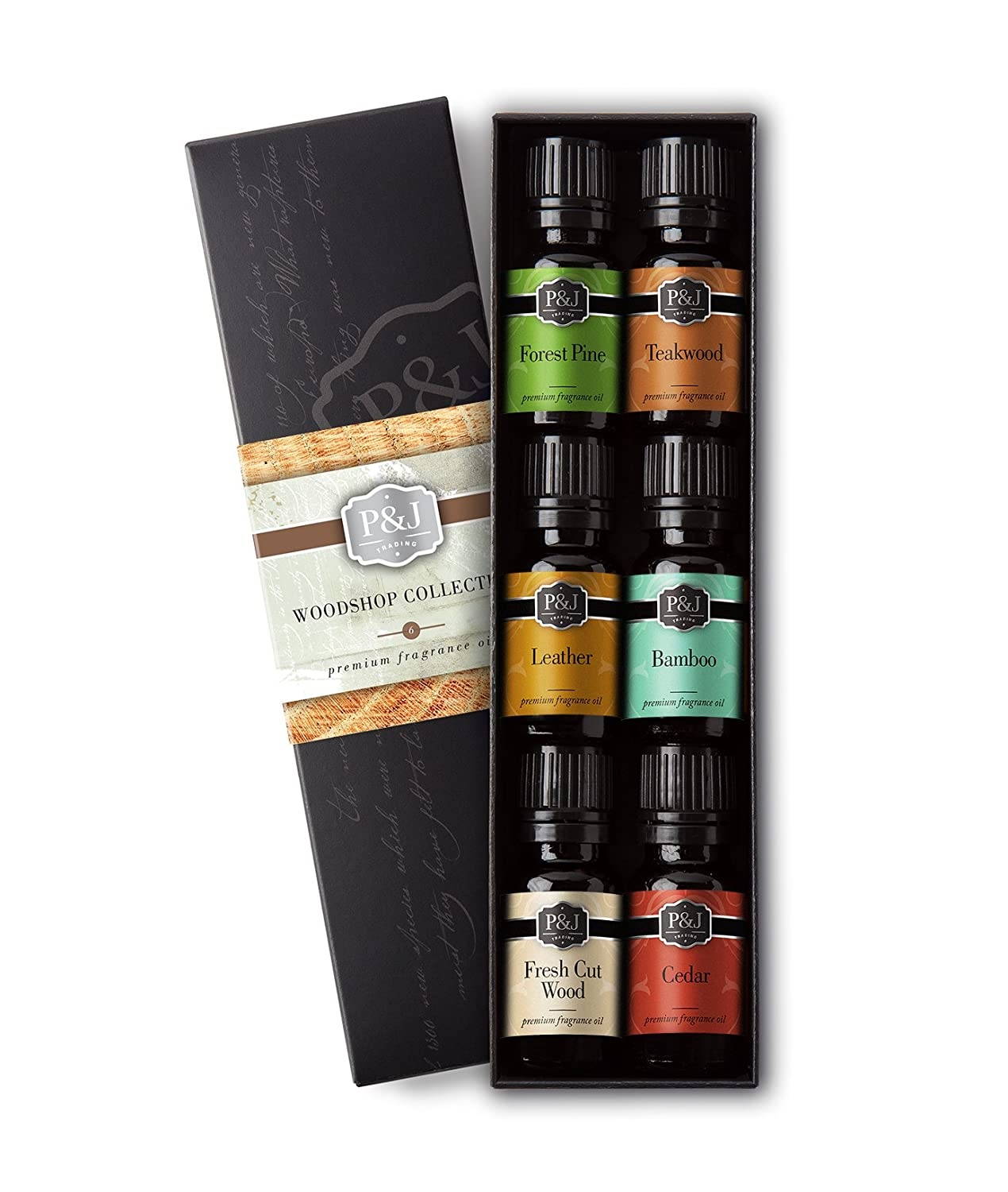 Woodshop Set of 6 Premium Grade Fragrance Oils - Forest Pine, Fresh Cut Wood, Leather, Teakwood, Bamboo, Cedar
