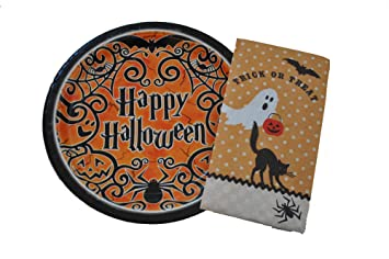 halloween plates and napkins happy halloween gothic theme party supplies pack serves 16